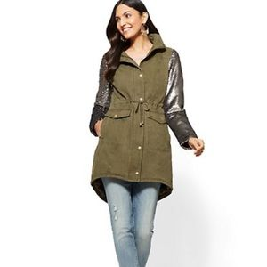 Army Green Sequin-Sleeve Anorak Fall Jacket